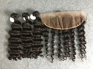 "100% Human Hair Weave Brazilian Virgin Hair Loose wave With Frontal 10""-30"""