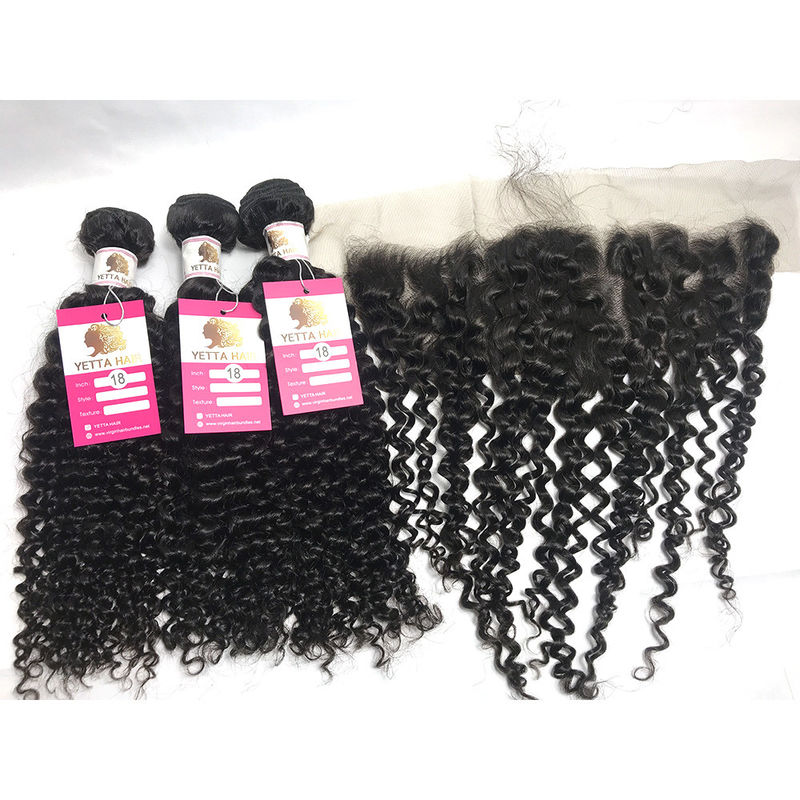Black Curly Hair Weave Bundle Unprocessed Virgin Peruvian Human Hair Extensions