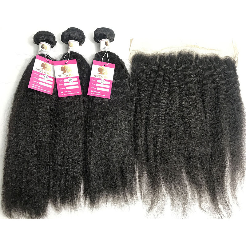 13x4 Lace Frontal Kinky Straight Peruvian Human Hair Weave 10A Grade